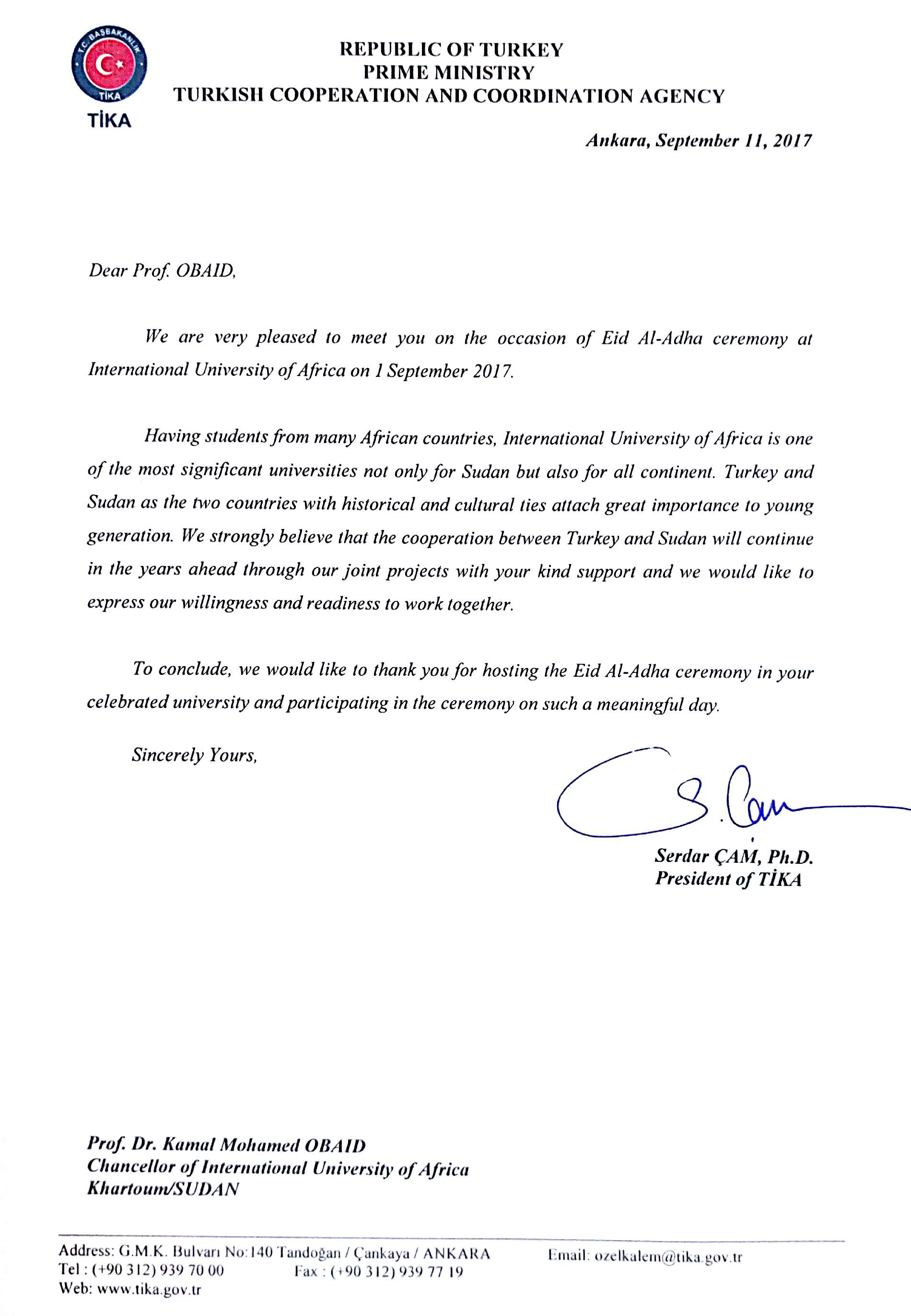 the-vice-chancellor-of-the-university-receives-a-letter-of-thanks-from-the-turkish-cooperation-and-coordination-agency